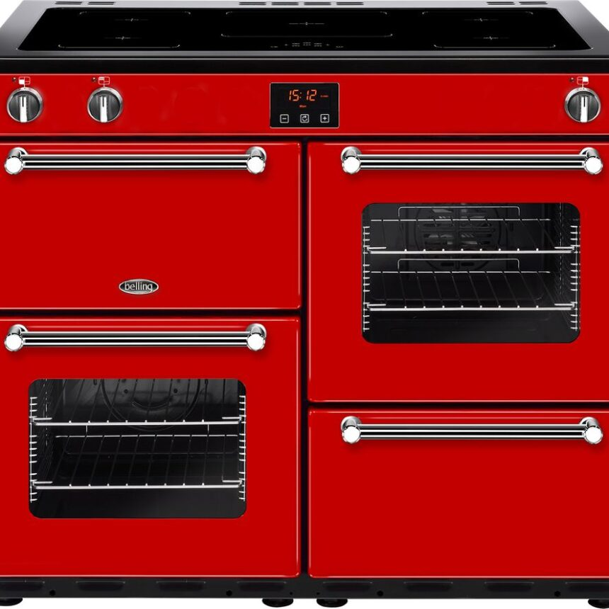 BELLING Kensington 100Ei Electric Induction Range Cooker - Red & Chrome, Red