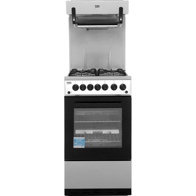 Beko KA52NES 50cm Gas Cooker with Full Width Gas Grill - Silver - A Rated