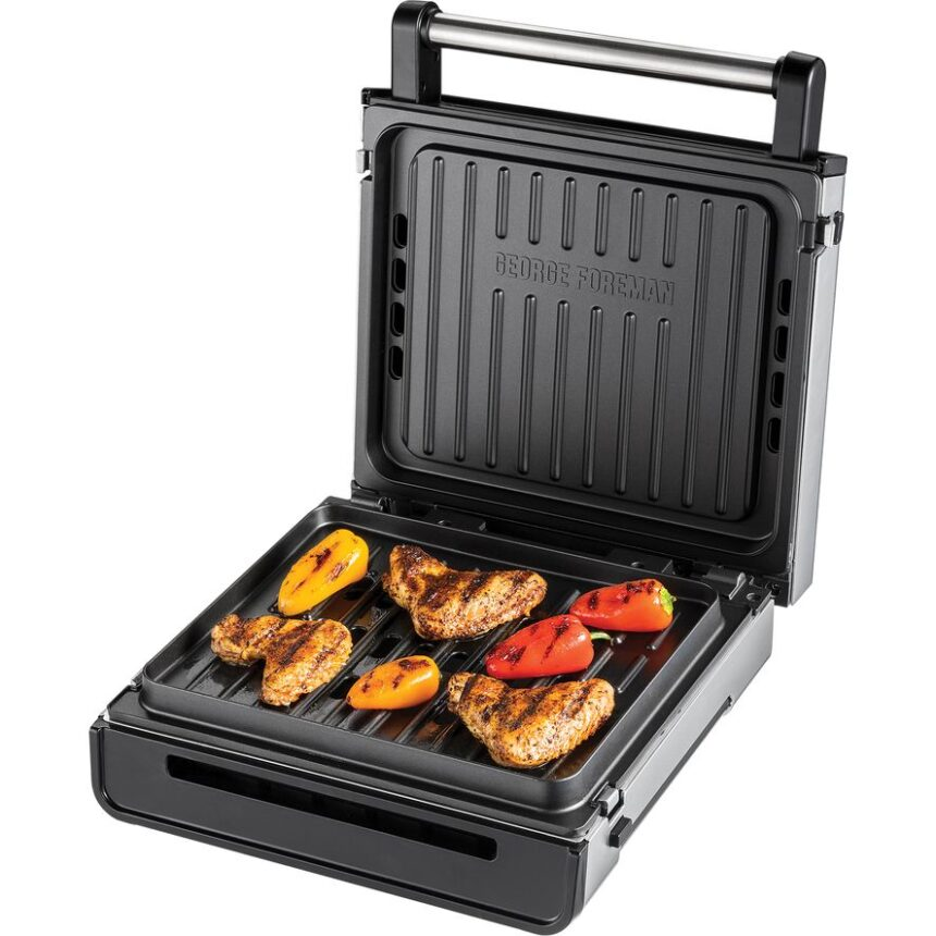 GEORGE FOREMAN 28000 Smokeless Grill - Silver, Silver